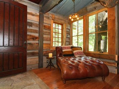 Sundance cabin rental - Entryway with barn wood, stone, view of our magical pine tree!