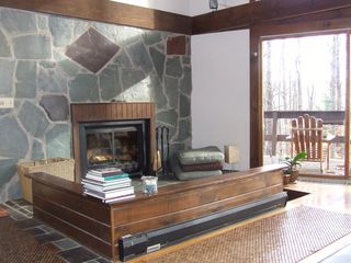 Ithaca lodge photo - Great Room fireplace with sunken seating area