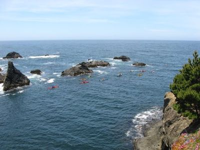 Mendocino cottage rental - Kayakers in the Cove