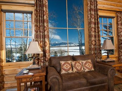 "Great room view of ""sleeping indian"" mountain ridge"