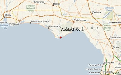Apalachicola, Florida is on the Gulf of Mexico