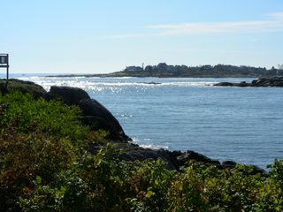 Biddeford house photo - Sunlight sparkles on water of Fortunes Rocks Cove--view from upstairs+downstairs
