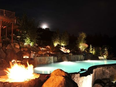 The pool and fire pit at night