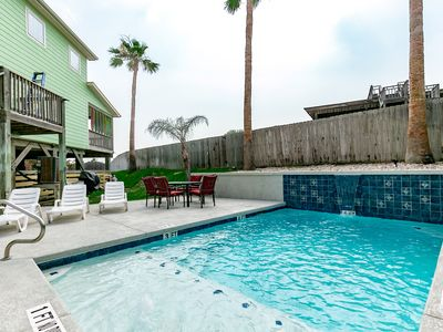 New PRIVATE pool with roomy patio/BBQ area and yard.
