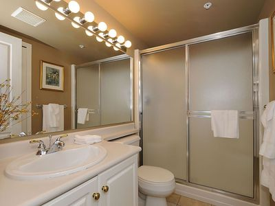 Main bathroom with large walk in shower
