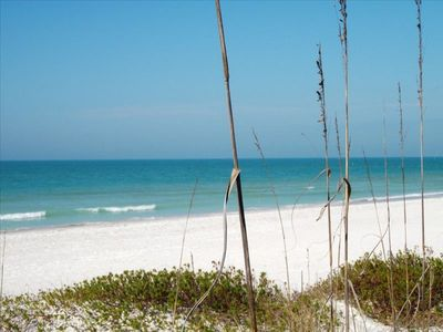 The beautiful white sugar sand beach of Anna Maria Island.