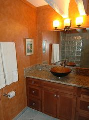 Princeville condo photo - Main floor bath with marble walk in glass block shower