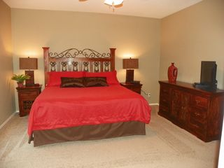 "San Tan Valley house photo - Large Master Bedroom with King-Size Bed, plush bedding and 32"" HD TV"