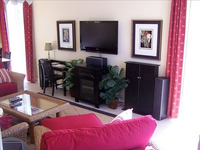 "Entertainment System in Living Room Has a 46"" LCD Television with cable/Internet"