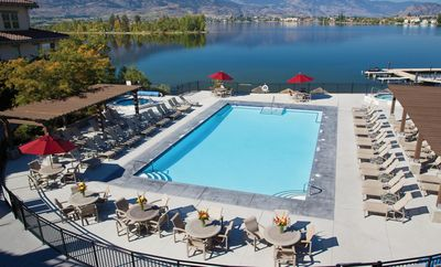 Swim in the outdoor heated pool, overlooking the lake and mountains.