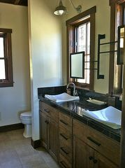 Georgetown Lake house photo - Master bath has a large walk-in shower, lots of light and contains a big closet.