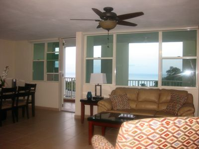 Ocean View from Living Room and Dining Room Windows (shades pull down)