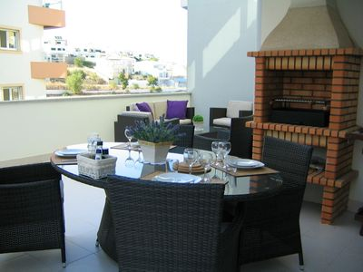 Dining area with barbecue
