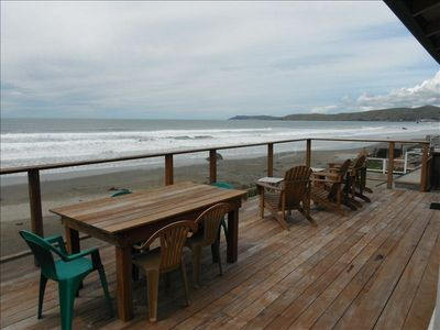 Our deck, looking northward toward downtown Cayucos, a 2-mile walk up the beach.