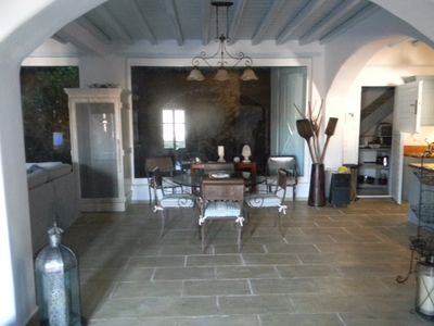 Spacious dining area with patio access
