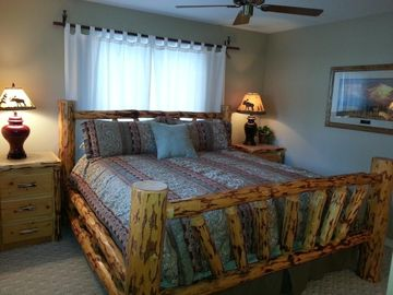 Suite #2 w/plush king size bed allows you to get a restful night sleep.