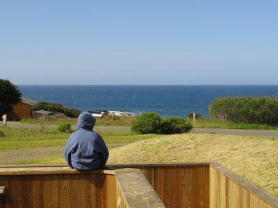 One of our children, looking for whales and reflecting...