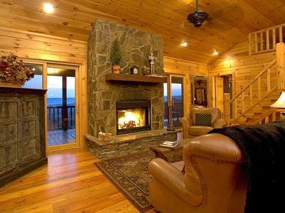 Great Room with Stunning Views & Porch Access on Either Side of Stone Fireplace