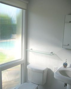 Partial view of master bathroom w/frosted windows