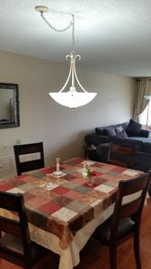 Dining for 4.  Table expands if needed