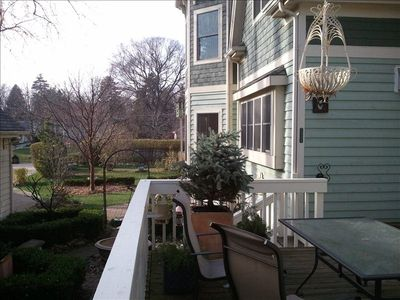 Large deck off of music room with views of the garden and fountain courtyard....