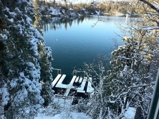 Magical view of our dock & lake in the winter