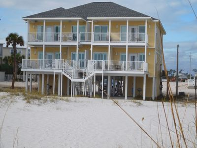 Sandbox is east side of home 2500 sq ft 4 br 3 ba w parking under home and pool