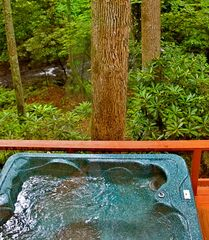 Gatlinburg cabin photo - Relax in the hot tub & listen to the rushing waters