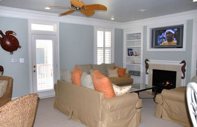 """SouthPointe"" Family Room w/ Fireplace, Plasma TV, and Door to Deck"