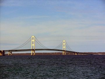 Mackinac Bridge (about 15 miles northwest--route to the Upper Peninsula)