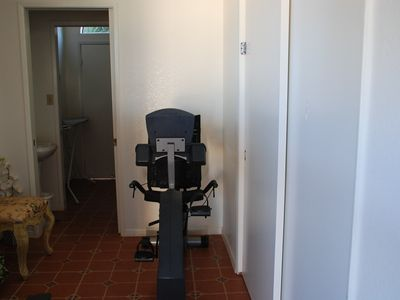 Nice exercise bike and treadmill are downstairs.