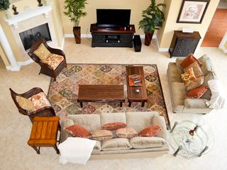 Ormond Beach house photo - Our handsome living room features a HDTV and fireplace