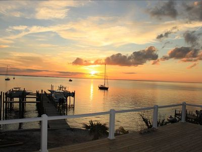 View of sunset and dock from Seaside's back deck