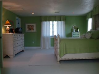 Centerville house photo - Beautiful large bedroom up with Queen Bed-Crib in this room. Fresh colors-views.