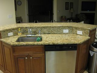 Belmont Towers Ocean City condo photo - View of Food Bar, Sink and Stainless Kitchenaid Dishwasher