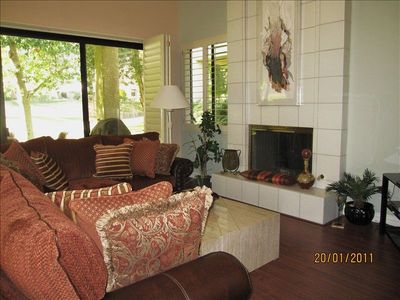 "Comfortable Living Room with Corner Sectional, Fireplace, New 55"" Flatscreen"