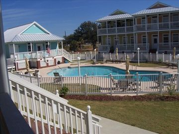 Pass Christian condo rental - View the pool from the porch