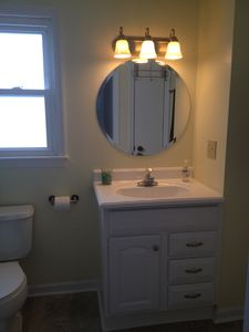 New vanity and upgrade in the main floor bath.