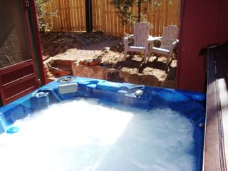 Ruidoso cabin photo - Enjoy our new steamy, welcoming hot tub in a very private courtyard