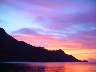 Sunset view from the Gazebo - Moorea bungalow vacation rental photo