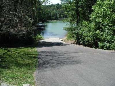 Boat ramp located beside the pool. Just around the corner from our cabin!