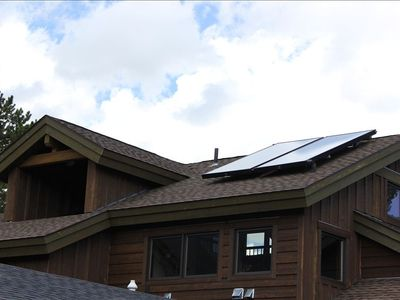 Our home is GREEN built with Solar Panels to heat the Hot Water in the home!