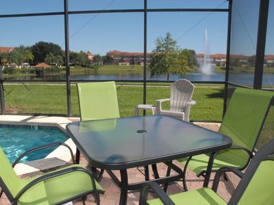 Outdoor dining at its finest. Fountain and clubhouse views
