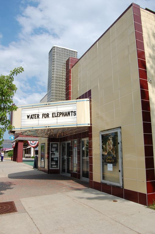 Downtown Elk Rapids wonderfully restored Art Deco movie theater.
