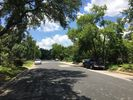 Our wide, tree lined street. In a neighborhood but still close to everything!