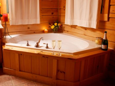 Romantic jacuzzi style tub in the master bedroom suite