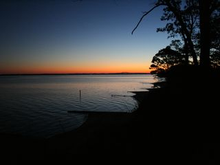 Deltaville cottage photo - Rappahannock River Sunrise - East view from the yard.