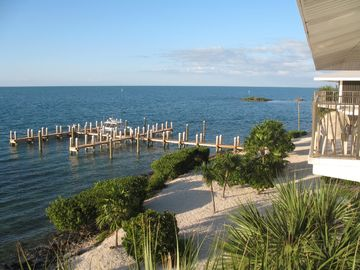 View of the dock and Gulf from first floor balcony