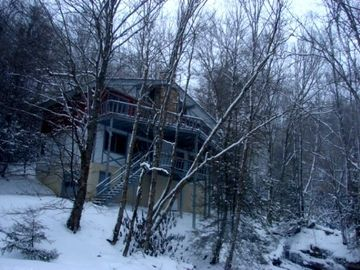 Beech Mountain chalet rental - 2 desks overlooking bold stream w/grills, 2 fp, entry on both levels to grt rms