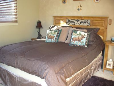 Master bedroom with pillow top bed.
